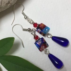 Colorful millefiori blue glass drop earrings